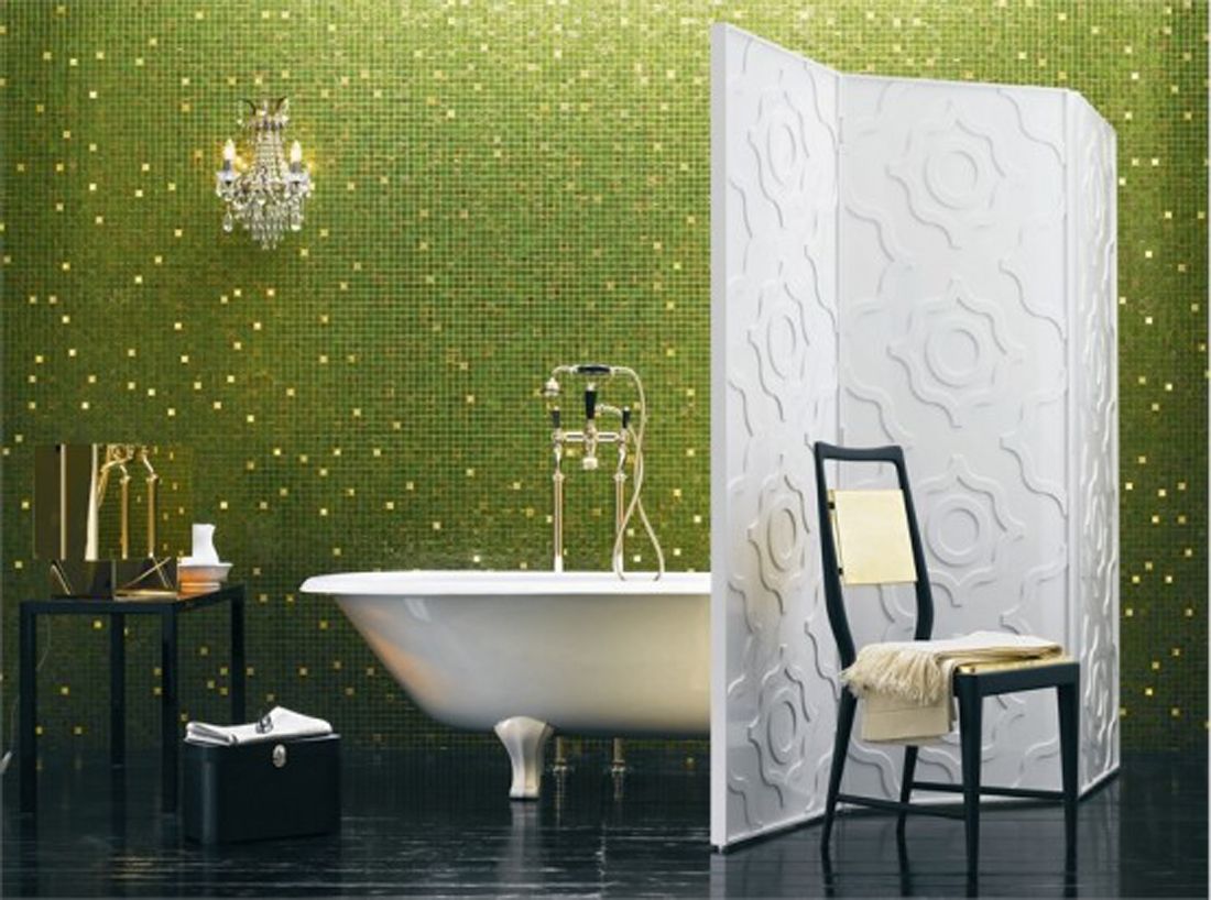 Green mosaic bathroom tiles
