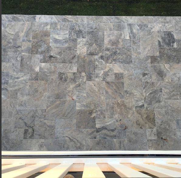 Platinum travertine tiles for outdoor use