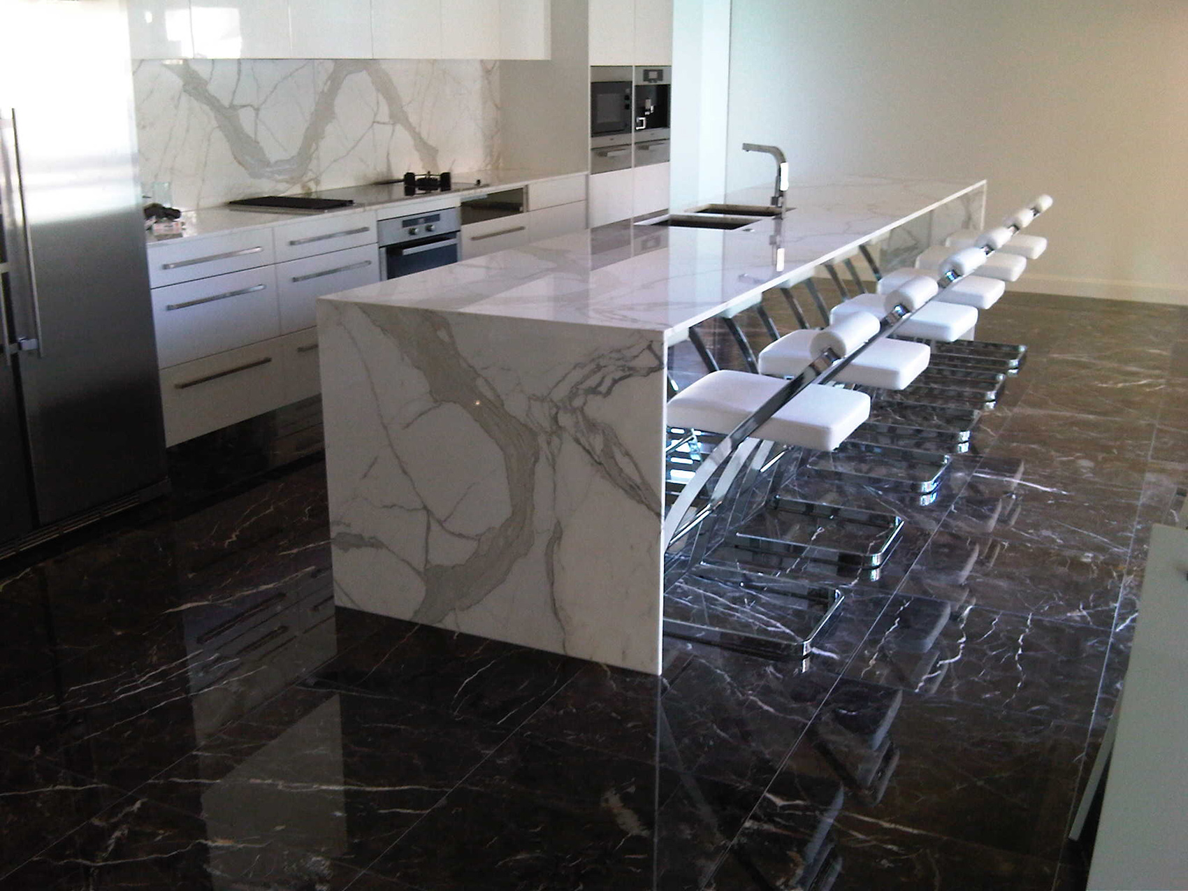 Dark-Emperador Polished Floor Calacutta bench tops