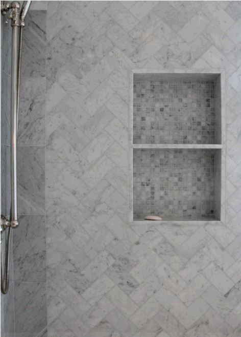 Carrara Marble Herringbone Mosaics