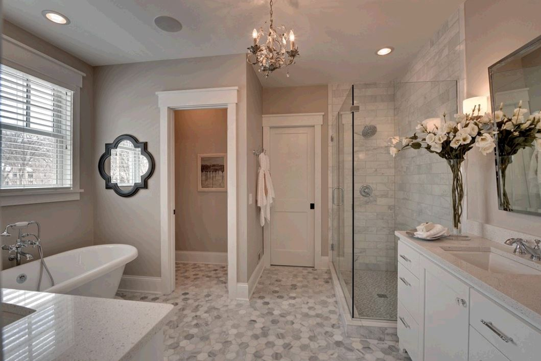 Hexagonal Floors & Single Carrara Mosaics Shower