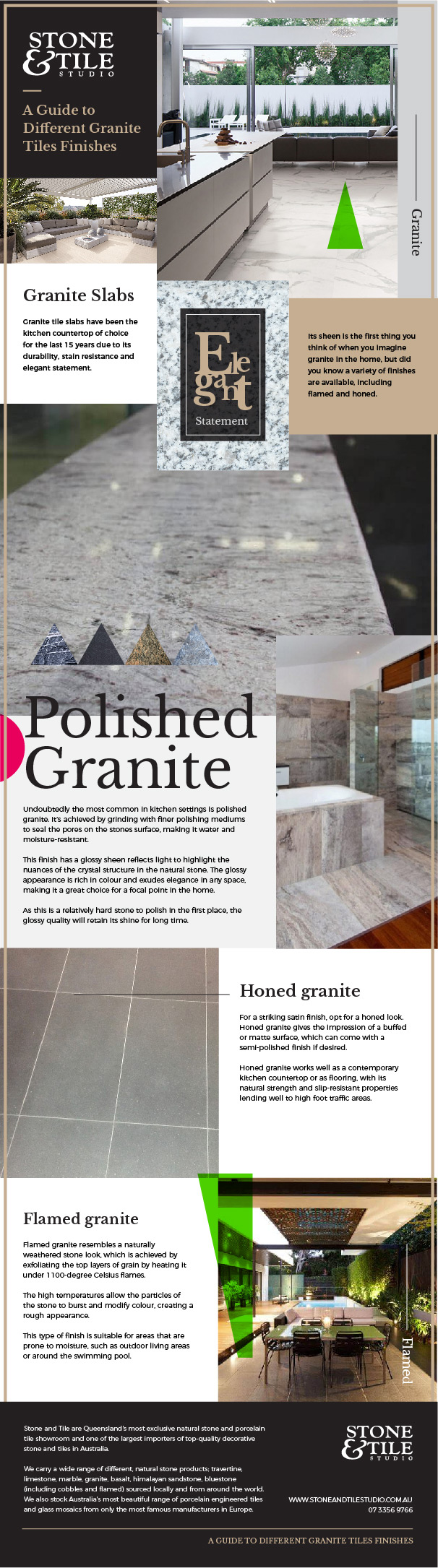Granite tile finishes