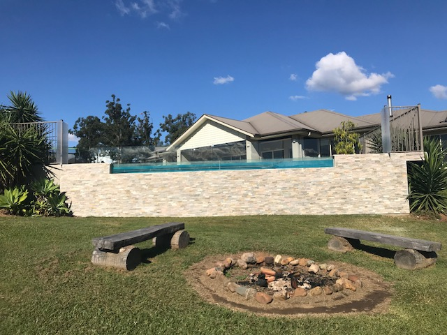 Beige Limestone Feature Pool Edge