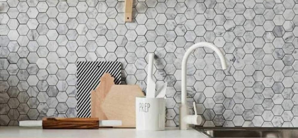 2021 Tile Trend Carrara Marble Hexagonal Tiles