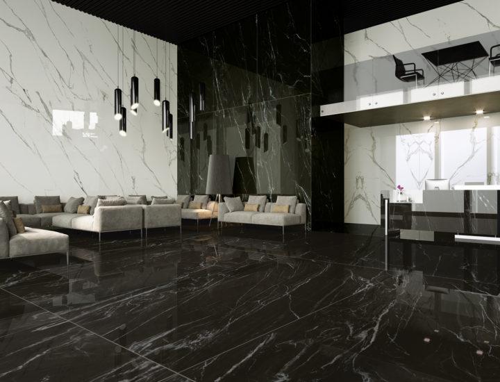 Large Format Porcelain Slab - Marmi Nero Belvedere