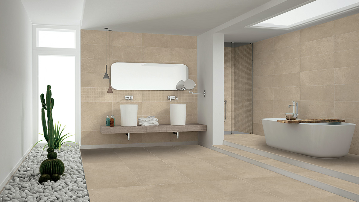 Limestone Beige Bathroom
