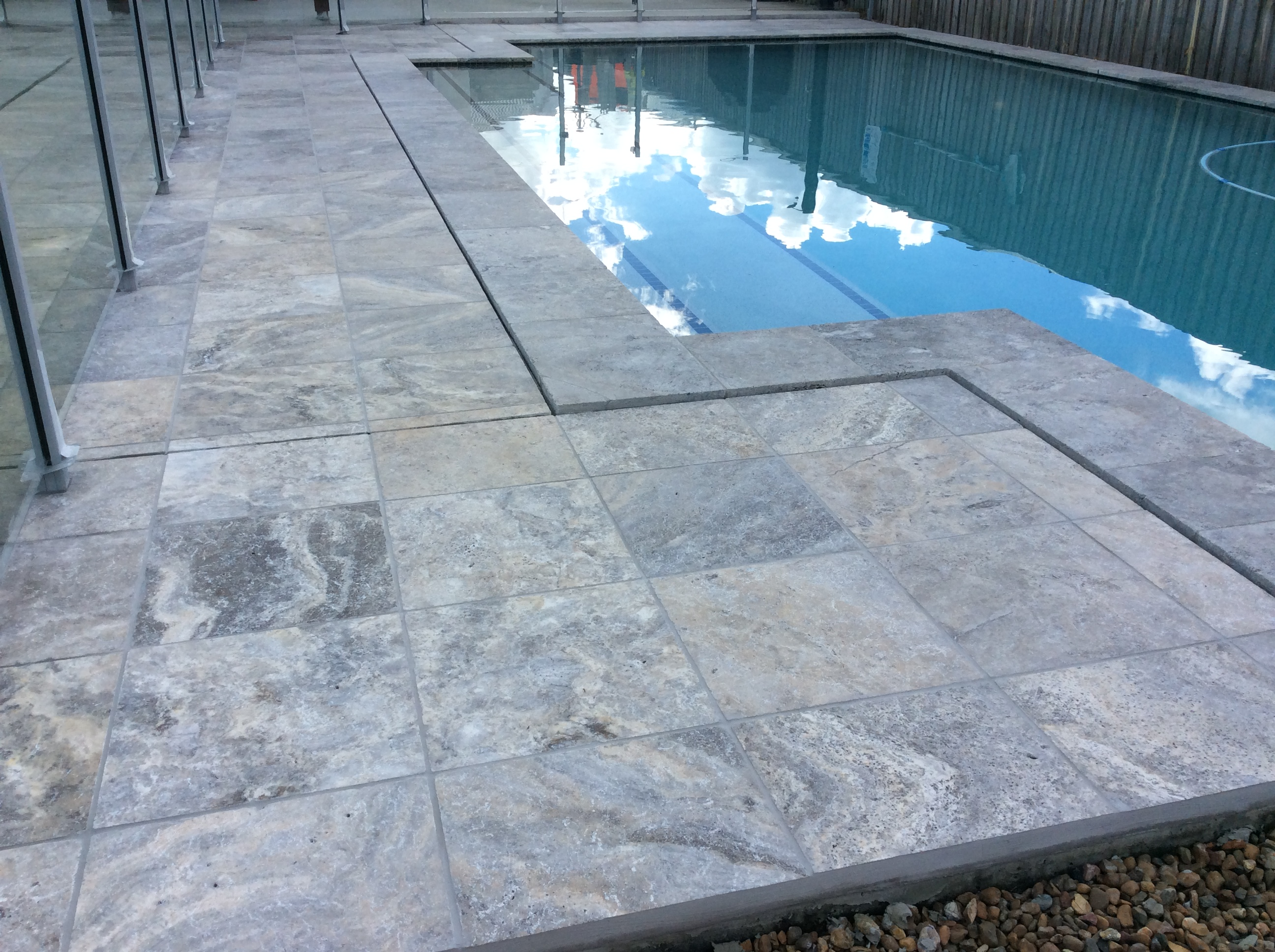 Platinum Travertine Honed & Filled Pool