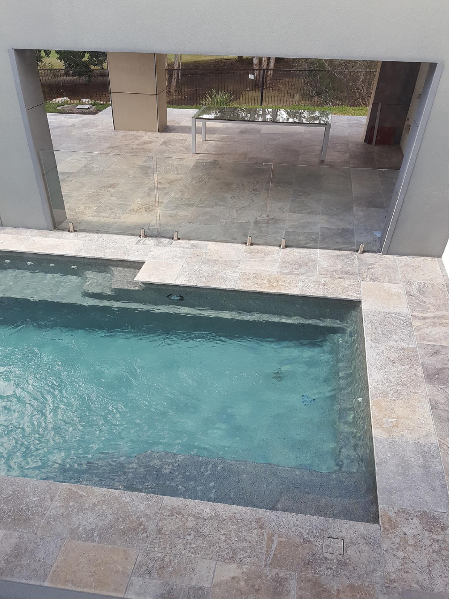 Platinum Travertine Tumbled & Unfilled Pool
